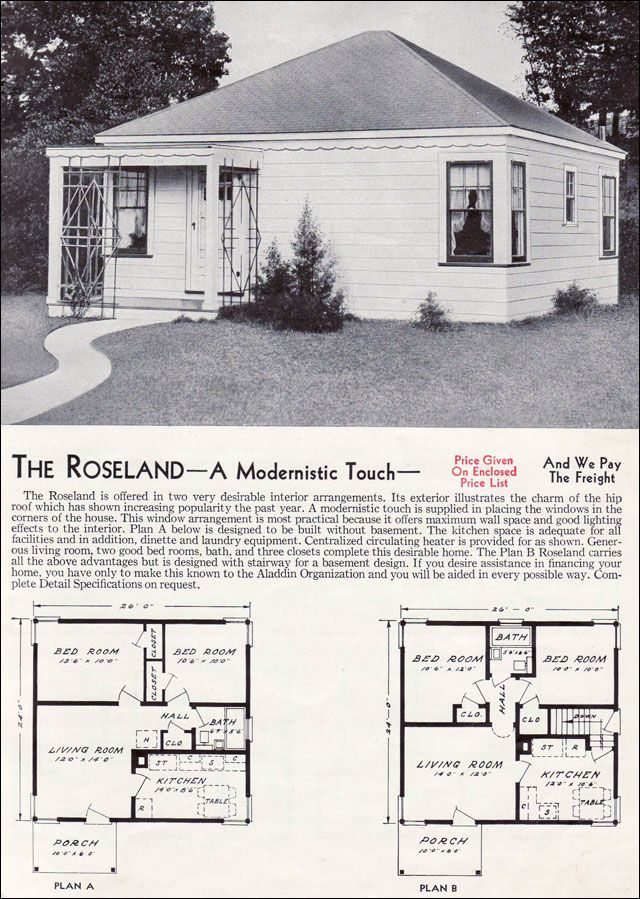 1940 Style Homes 1940 Aladdin Kit Homes The Roseland 40s 50s 60s 70s Home Buying In 2019 House Plans House Kit Homes
