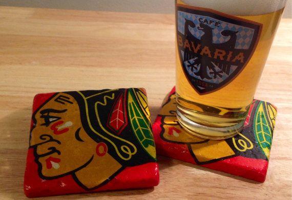 Free Shipping ~ Set of 4 Chicago Blackhawks Coasters ~  Stone Coasters ~Coasters ~ Natural Stone Tile Coasters ~ Hockey Coasters ~