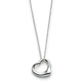 Remember the floating heart necklaces in the 70's and 80's?  Tiffany's still sells them :-)  Elsa Peretti® Open Heart pendant, small. Sterling silver.