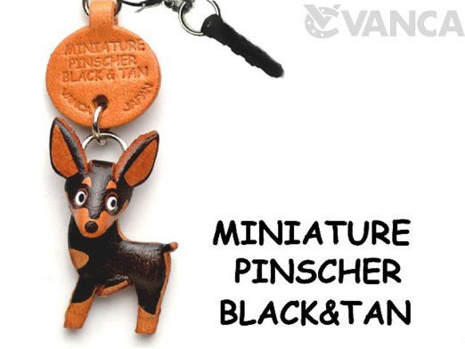 Miniature Pinscher Black & Tan Leather Dog Earphone Jack Accessory by *VANCA* Made in Japan #47783