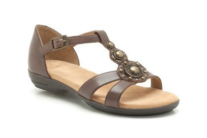 Womens Casual Sandals - Renver Shine in Dark Brown Leather from Clarks shoes