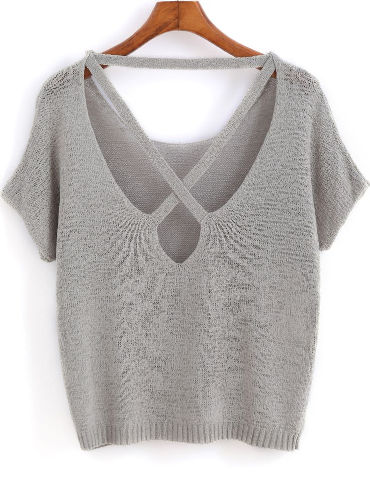 Shop Grey Short Sleeve Backless Knit Sweater online. SheIn offers Grey Short Sleeve Backless Knit Sweater & more to fit your fashionable needs.
