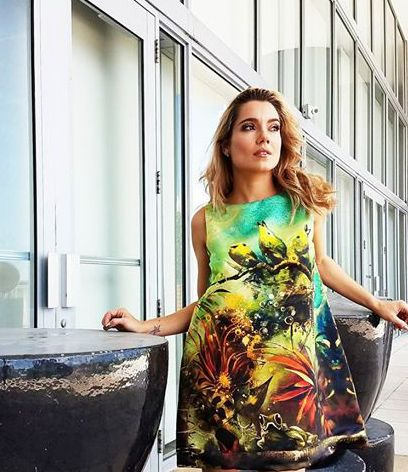 vestido casual diseñado por REI GIRALDO,artbition-miami