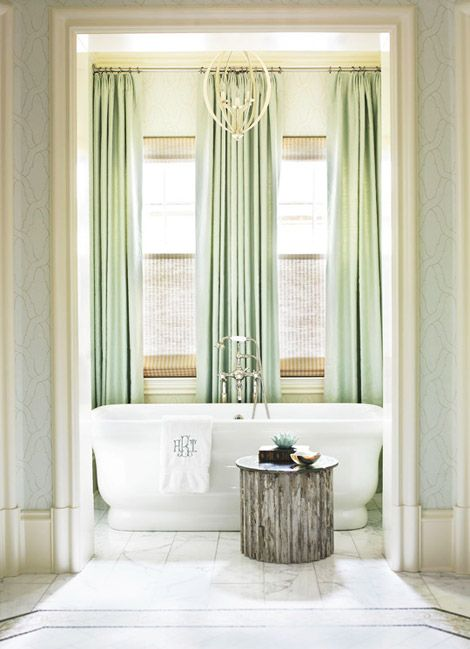 Elegance in the bathroom!: Bathroom Design, Mint Green, Masterbath, Master Bath, Bathroom Ideas, Atlanta Home, Window Treatments, Green Curtains, Design Bathroom
