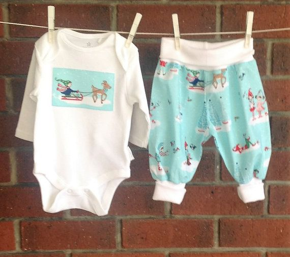 CHRISTMAS BABY CLOTHES aqua holiday baby outfit by TwoBlackRabbits