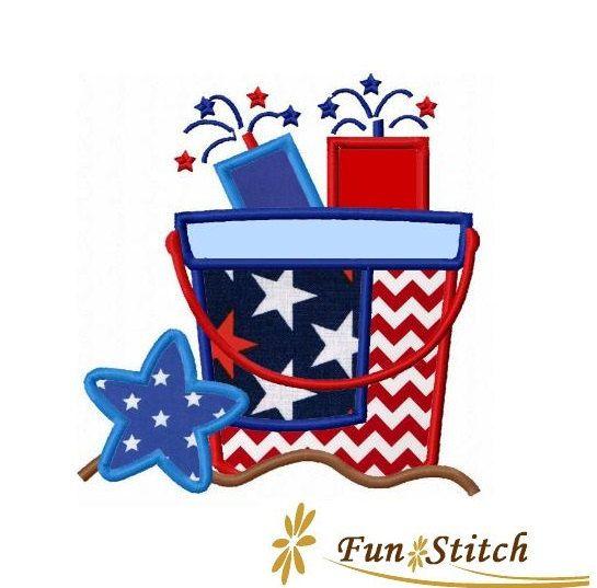 patriotic july 4th firecracker bucket machine embroidery design applique firecracker. Black Bedroom Furniture Sets. Home Design Ideas