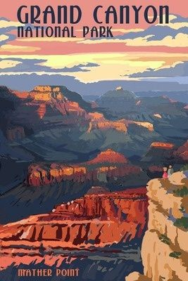 Grand Canyon National Park - Mather Point - Lantern Press Poster