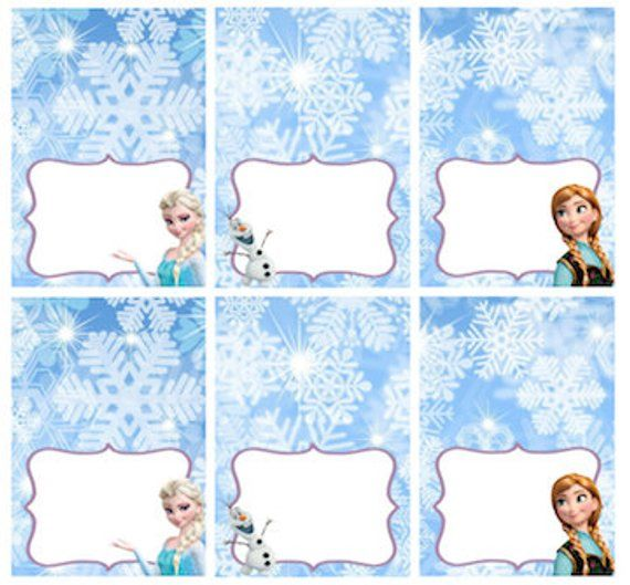 Disney Frozen Food Labels Placecards Tent Cards Favor Tags