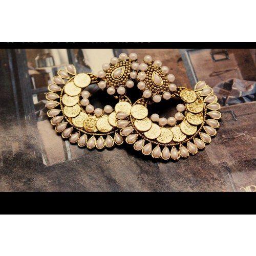 Ram Leela style Gorgeous Golen with Pearls Earrings - Online Shopping for Earrings