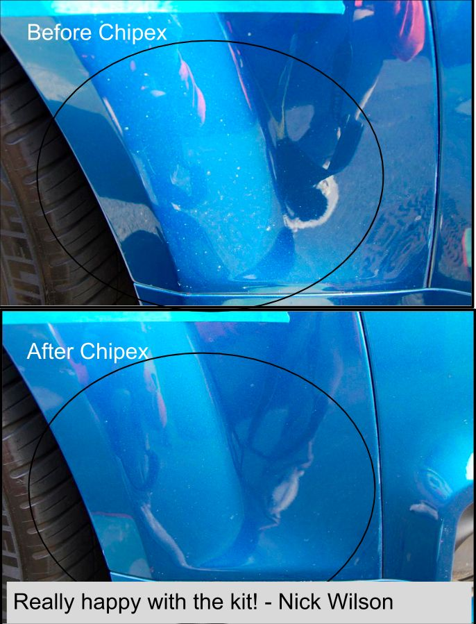 Nick Wilson was very happy with the Chipex kit. Here are his before and after photos. Fix your car stone chips with Chipex - http://www.chipex.co.uk/ 100% colour match guaranteed.