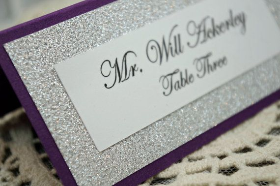Purple Wedding Escort Card / Place Card Full of Bling, Sparkle, and Dazzle-Custom & Handmade