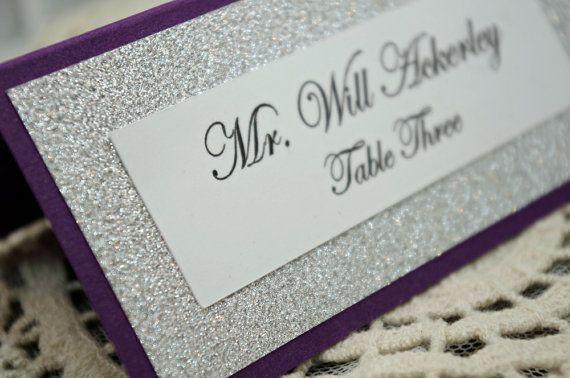 Purple Wedding Escort Card / Place Card Full of Bling, Sparkle, and Dazzle-Custom & Handmade