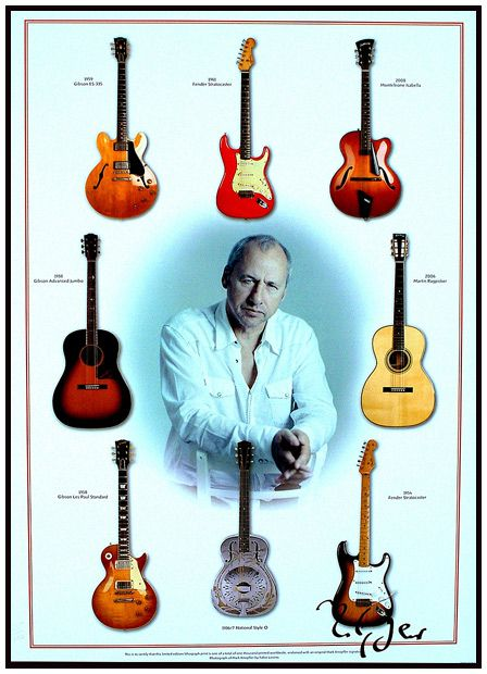 Mark Knopfler surrounded by his favorite guitars.