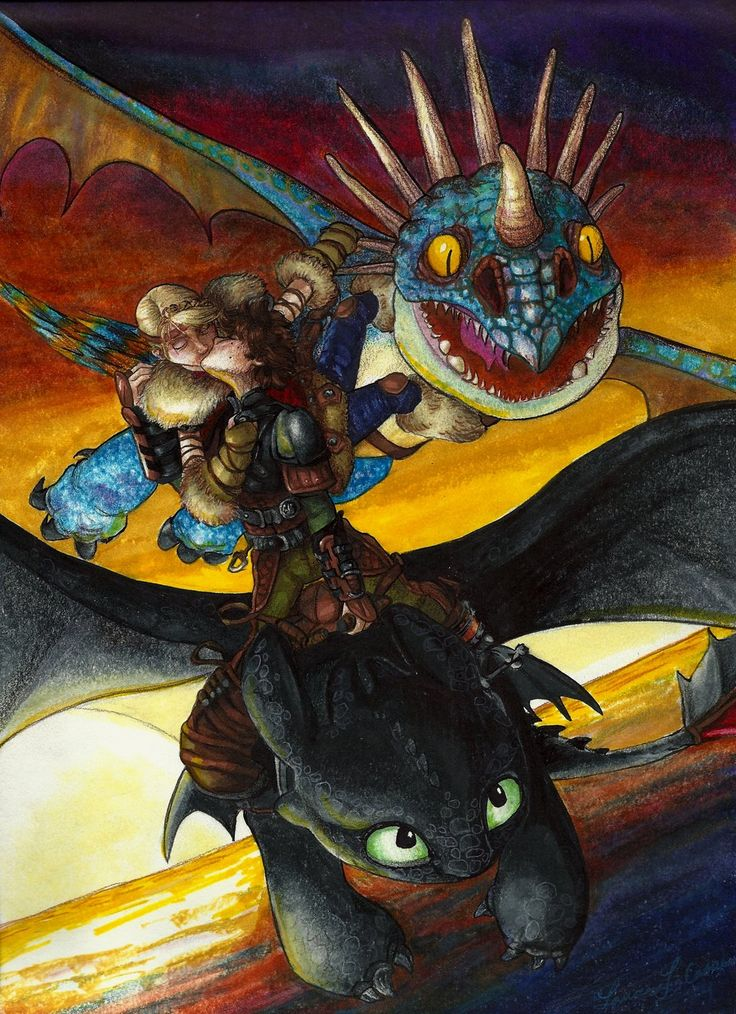 Love on the Battlefield. Hiccup and Astrid's Kiss as they ride on their dragons, Toothless and Stormfly.