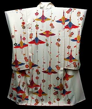 Furisode kimono | Cranes and Ume pattern