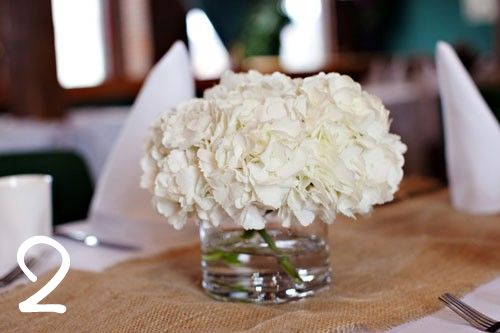 Hydrangeas are one of my favorite flowers simply because they are so stunning on their own.  Freshly cut white hydrangeas gathered in a small glass vase are classically beautiful.