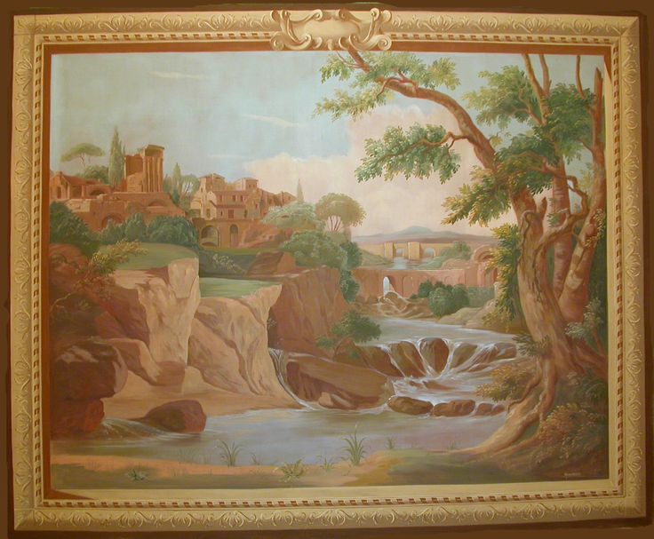 painted tapestry landscape