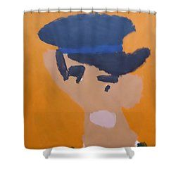 Shower Curtain featuring the painting Young Man With A Hat 2014 - After Vincent Van Gogh by Patrick Francis