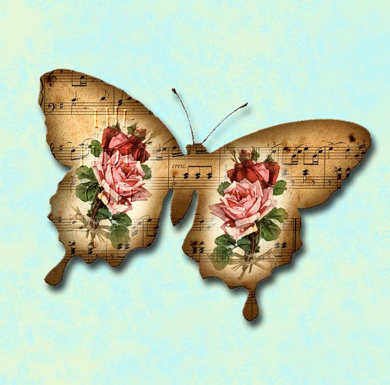 Set of 9 Gorgeous Music & Floral Butterfly Shapes door thephotocube