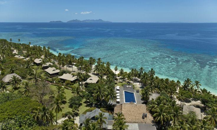 Vomo Fijian Resort, Aerial view of the Villas and Reef Restaurant.