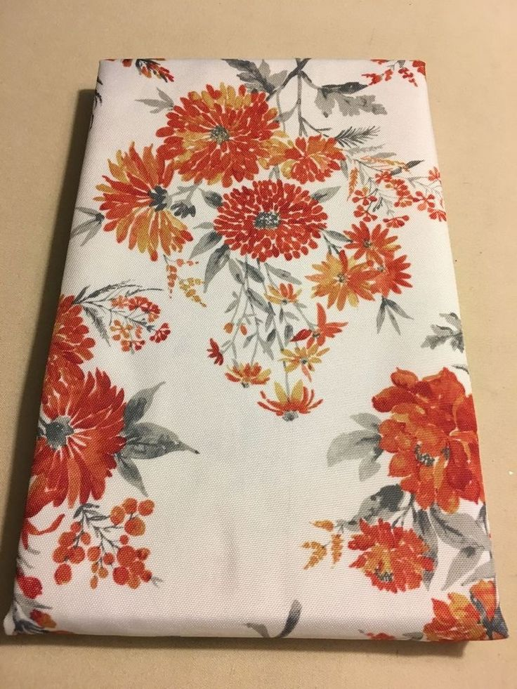 Nicole Miller Cream Orange Floral Print Tablecloth Various Sizes U0026 Shapes  New! #NicoleMiller