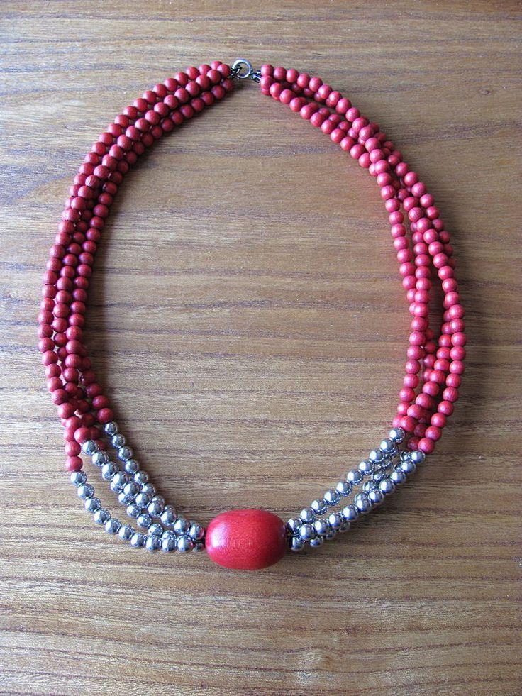 Aarikka Finland Vintage Necklace Red Wooden Beads Silver Toned Metal Beads #Aarikka