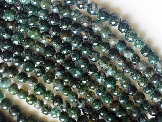 WHOLESALE 5 Strands Moss Agate Beads Natural Moss by gemsforjewels