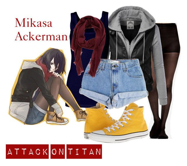 Mikasa Ackerman by anime-addict10 on Polyvore featuring polyvore, ファッション, style, By Malene Birger, Levi's, Converse and Armand Diradourian