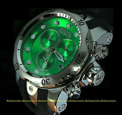 New Invicta Reserve Mens Venom Swiss Quartz Chronograph Green Dial Strap Watch