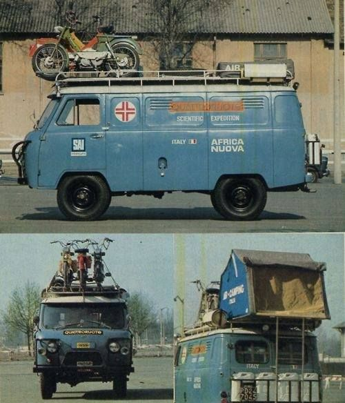 Tent and motorcycle topped compact adventuring van, pretty cool