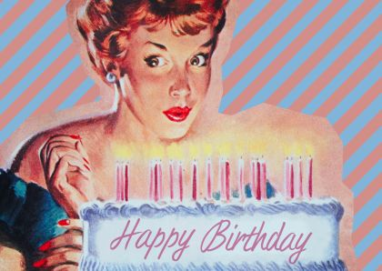 Vintage Happy Birthday cake - Verjaardagskaarten - Kaartje2go
