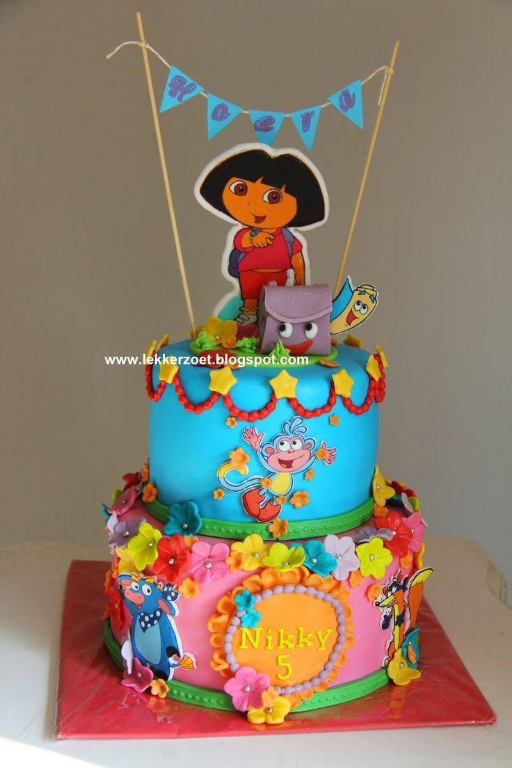lekker zoet: Dora taart voor de 5  jarige Nikky