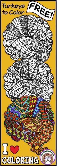 Turkeys to Color - Fun for Kids and Adults! Calm you class with these I Heart Coloring Turkeys! Perfect for Thanksgiving classroom decor as a party activity indoor recess for a coloring contest or just for fun! Happy Halloween Rachel Lynette 1-2 3-5 6-8 classroom decor Thanksgiving coloring coloring activity Rachel Lynette teachers Thanksgiving activities