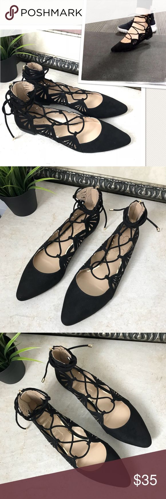 """Sale!! Jessica Simpson Lace Up Flat Shoes Black Jessica Simpson """"Zellen"""" Ballet Flat Shoes Lace Up   Size: 7   New Without Box   FEATURES Faux suede upper Back zipper for easy on/off Ghillie lace-up with wrap around ankle tie Pointed toe Synthetic sole Jessica Simpson Shoes Flats & Loafers"""