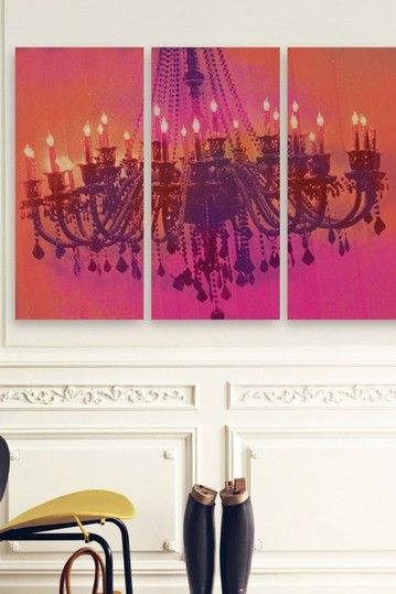 Oliver Gal Light Me Up Triptych Canvas Art