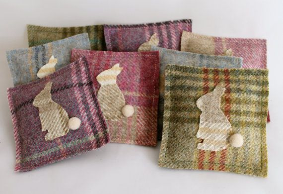Dried Lavender Bag - Easter Bunny Tweed Pouch in Pink, Lilac, Blue or Green Tweed in by DaisyBelleShop