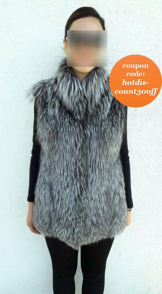 Silver FOX Fur Vest FULL SKIN 30%  Silberfuchs Pelzweste