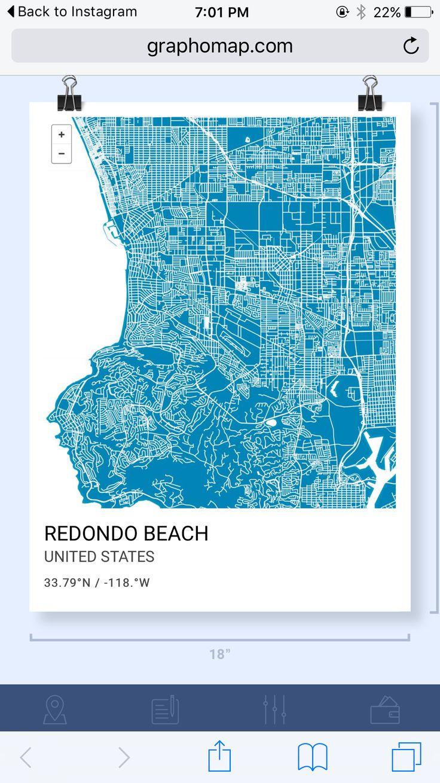 Graphic map Redondo Beach 128 best Beach