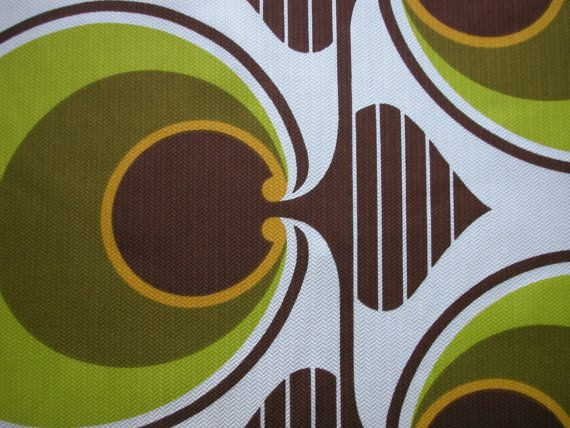 FABRIC original 1960s / retro vintage green bold pattern