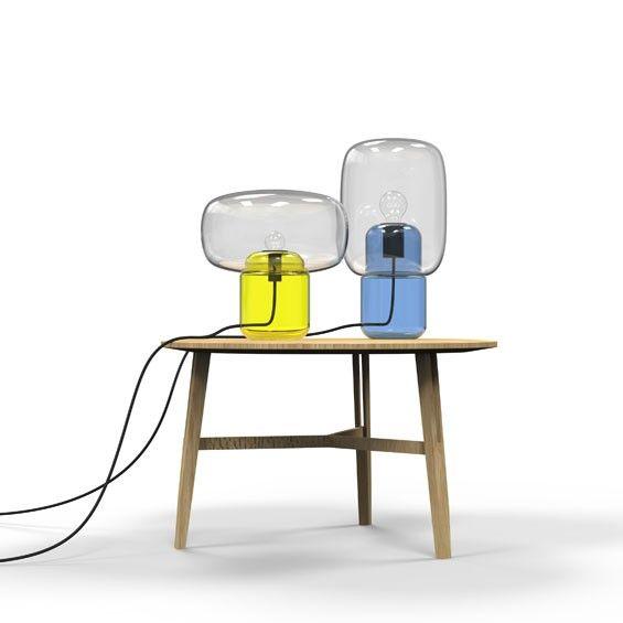 """Imaginées par le designer parisien Dan Yeffet, les deux lampes à poser """"Sara & Bob"""" se composent de deux volumes de verres soufflés et moulés qui se superposent"""