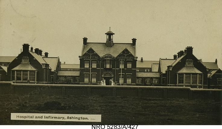Ashington Hospital c.1920, with Matron and nurses standing by the front entrance.1920