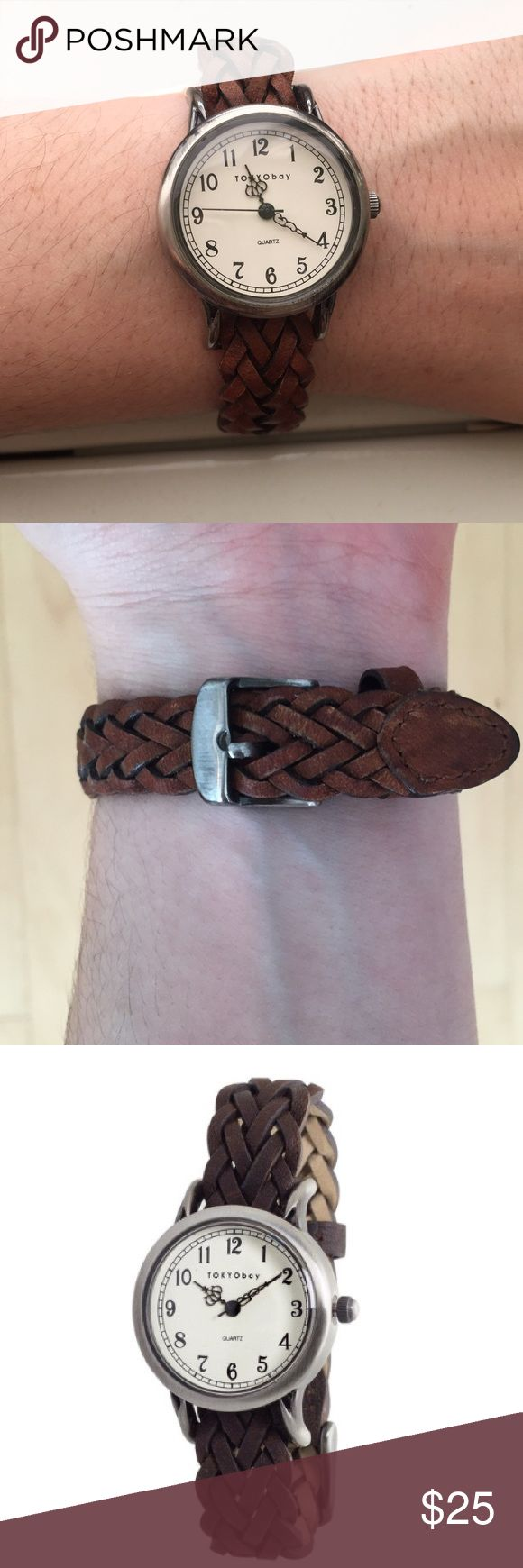Tokyo Bay Brown Braid Watch Brown braided leather watch from Tokyo Bay. The battery is dead but the watch is I'm great, unscratched condition. The leather is slightly faded near the clasp; see photos. Tokyo Bay Accessories Watches