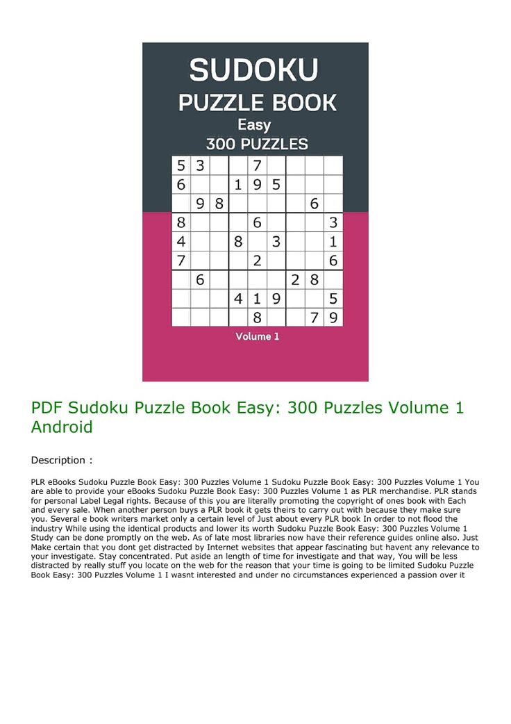 Pdf Sudoku Puzzle Book Easy  300 Puzzles Volume 1 Android In 2020