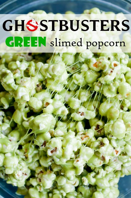 ghostbusters green slimed popcorn via @Lindsey Grande Johnson // Cafe Johnsonia Easy halloween party food, halloween party ideas, #halloween #recipe