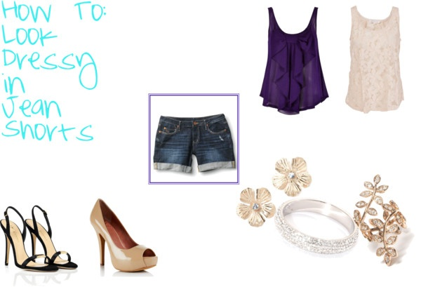 """""""How To: Look Dressy in Jean Shorts"""" by ana-soro ❤ liked on Polyvore"""
