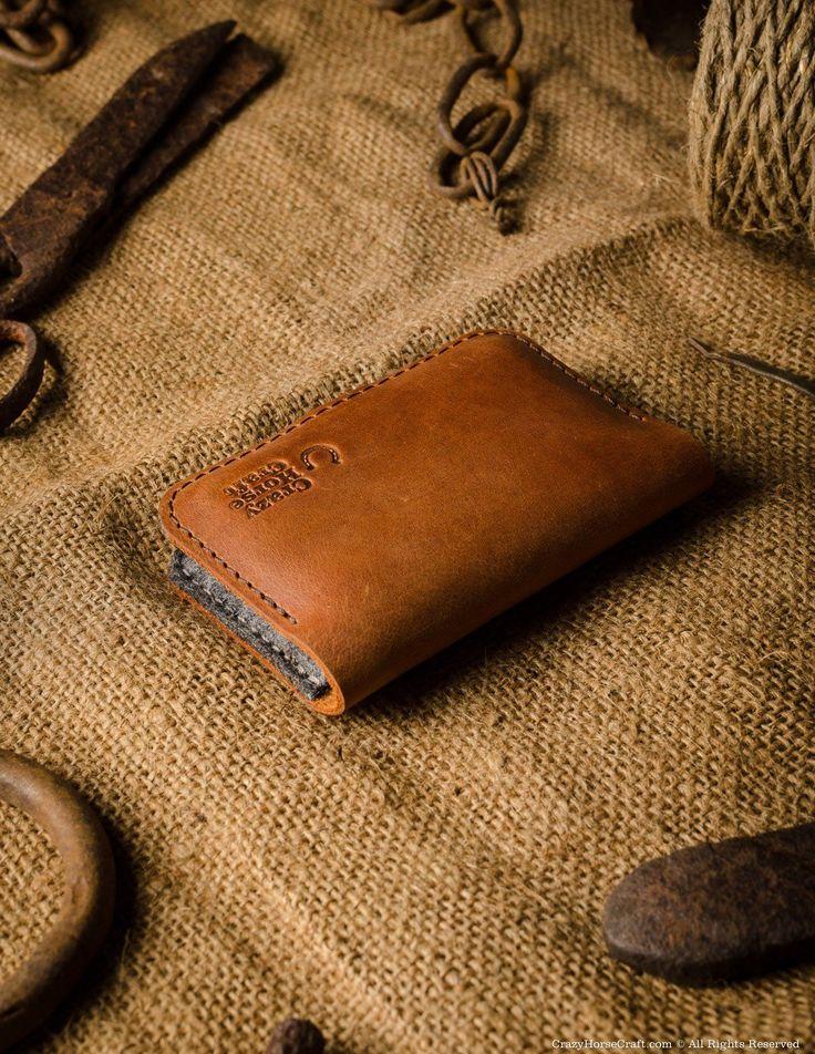 Business & credit card holder orange leather back