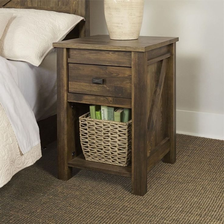 Farmhouse Rustic Night Stand End Table Pine Finish Wood  Side Accent Furniture #FarmhouseRusticEndTable #RusticPrimitive