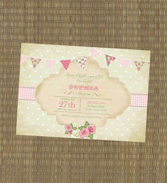 Printable Vintage Shabby Chic Girls Birthday Invitation - Pink and Green Shabby Chic Pendant Banner Invitation