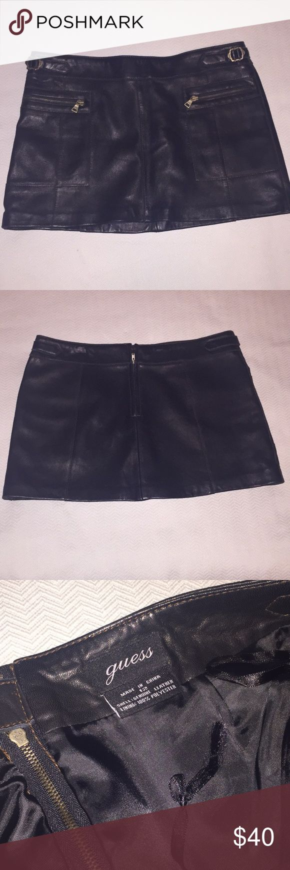 Guess Leather Mini Skirt Leather mini skirt with zipper pockets, very nice piece in good condition. Guess Skirts Mini