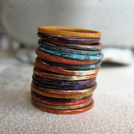 Copper patina stacker rings